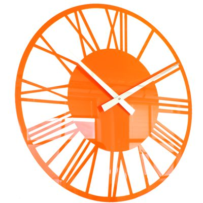 Roco Verre Horloge Murale Romaine Acrylique Orange
