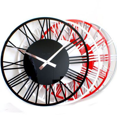RocoVerre Acrylic Gloss Skeleton Roman Wall Clock
